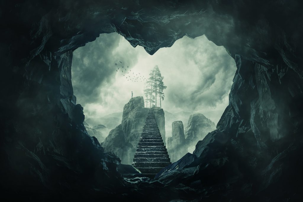 Surreal View Heart Shaped Dark Cave Exit And Mystic Stairway